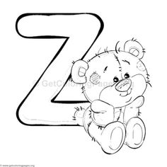 Teddy Bear Alphabet Letter Z Coloring Pages Alphabet A, Doodle Alphabet, Alphabet Design, Animal Alphabet, School Coloring Pages, Alphabet Coloring Pages, Colouring Pages, Adult Coloring Pages, Coloring Books
