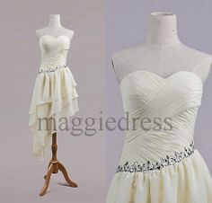 Custom Beige Beaded  Short Bridesmaid Dresses 2014 Party Dress Prom Dress Evening Dresees Party Dresses Wedding Party Dress on Etsy, $72.00