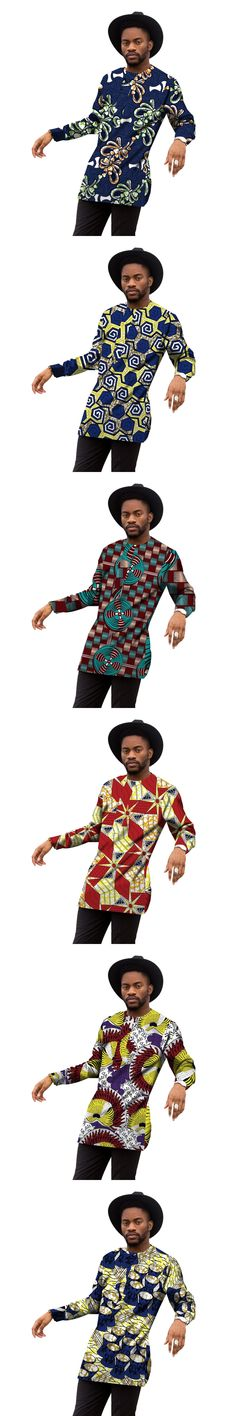 Fashion Men's African Traditional Print Tops Long Sleeve Man T shirt Custom Made Printed Africa Clothing For Men