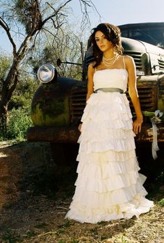 Recycled Fabric Bohemian Wedding Dress  The Beleza Gown  by ktjean