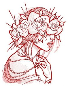 Rose wreath machine embroidery design #flower #girl #summer #lady #rose #young #spring #Beautiful #woman #blossom #wreath #mood #fragile #beads #tender #chubby #lips #embroidery