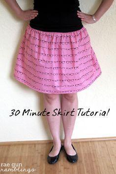 Just 1 yard of fabric and 30 minutes for a new skirt! Tutorial at Rae Gun Ramblings
