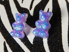 Iridescent Gummy Bear Earrings, Purple Resin Studs, Candy Posts, Kawaii Mini Food Jewelry by Allysin on Etsy