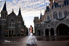 Beautiful clouds and a beautiful couple! #Disney #wedding #Cinderella #castle