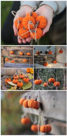 Little orange pumpkin garland Fall décor diy Thanksgiving pumpkin décor Crochet garland Christmas Tree Knitting Pattern, Crochet Christmas Garland, Knitted Christmas Decorations, Crochet Garland, Diy Garland, Fall Decorations, Halloween Knitting Patterns, Crochet Pumpkin Pattern, Beaded Crochet