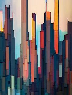 Abstract City, Blue Abstract Painting, City Painting, Abstract Wall Art, Abstract Landscape, Abstract Geometric Art, City Landscape, Abstract Print, Landscape Architecture