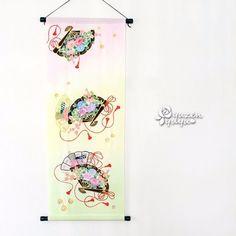 扇の手描きタペストリー タペストリー・壁掛け 結友 ハンドメイド通販・販売のCreema