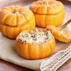 Mini pumpkin casseroles