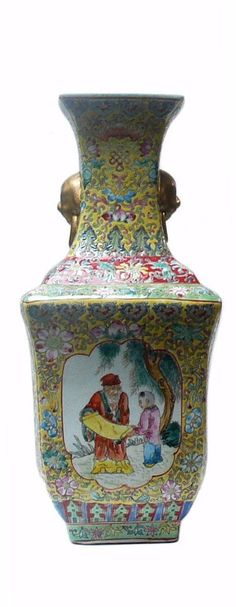 Chinese Yellow Base Canton Famille Porcelain Vase cs133S