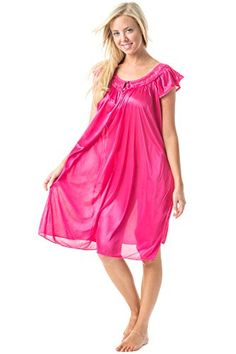 Casual Nights Womens Satin Nightgown Embroidered Lace Cap Sleeve  Pink  Large -- Check out the image by visiting the link.