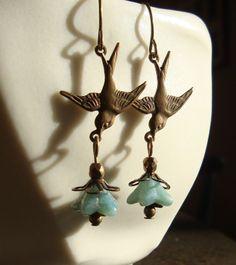Fly Little Sparrow Earrings warm antique brass by Stamped Jewelry, Metal Jewelry, Boho Jewelry, Jewelry Art, Beaded Jewelry, Jewelry Design, Jewelry Ideas, Lucite Flower Earrings, Diy Earrings