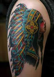 What does indian tattoo mean? We have indian tattoo ideas, designs, symbolism and we explain the meaning behind the tattoo. Boy Tattoos, Small Tattoos, Native American Tattoos, Cowboys And Indians, Ink Art, Traditional Tattoo, I Tattoo, Tatting, Indian Tattoos