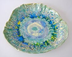 Hand Painted Serving Platter Turquoise and Blue