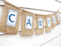 Burlap CUSTOM NAME Banner Name up to 6 Letters by LazyCaterpillar, $34.00