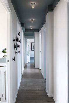 The accent wall design 1 Hallway Ceiling, Hallway Paint, Hallways, Accent Wall Designs, Hallway Designs, Hallway Ideas, Home Interior Design, Interior Decorating, Narrow Hallway Decorating