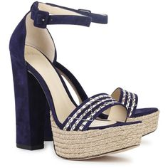 Alexandre Birman Alice Navy Suede And Cobra Sandals ($190) ❤ liked on Polyvore featuring shoes, sandals, heels, platforms, high heel platform sandals, navy strappy sandals, block heel sandals, high heel sandals and heeled sandals