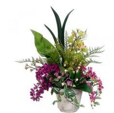 Phalaenopsis and Cymbidium Silk Flower Arrangment with Greenery ARWF1339