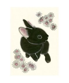 Would this arrive in enough time?? For my BFF/caregiver??Black Bunny Rabbit art print  4 for 3 SALE by matouenpeluche, $6.50