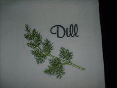 Machine embroidered kitchen flour sack towel herb dill. $6.00, via Etsy.