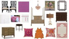 A completely SHOPPABLE! design board from @FieldstoneHill Design, Darlene Weir at @jessebodine . A dramatic and colorful master bedroom, with global inspiration.  #shoppabledesignerrooms #fuchsia #orange #pinkroom #masterbedroom