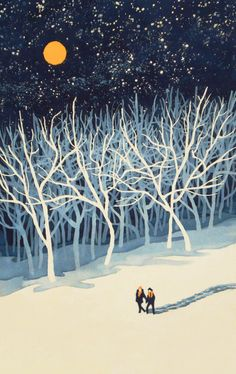 If on a Winter's Night Young Lover's. by Paul Sheaffer If on a Winter's Night Young Lover's. by Paul Sheaffer Illustration Inspiration, Winter Illustration, Inspiration Art, Art Et Illustration, Design Illustrations, Winter Art, Winter Night, Winter Moon, Guache
