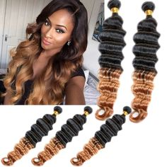 1B/27# 2 Tone Ombre Deep Wave High Quality Real Human Hair Extension Remy Wefts #WIGISS #HairExtension