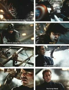 Fuck anyone who says tony and Steve were FRIENDS. Those two have fought on and off for years. But here in this scene with Steve and Bucky Steve isn't willing to fight Bucky beyond getting what needs to be done accomplished. Then he surrenders himself to Bucky, his true friend. Bucky and Steve are friends- real friends- on and off the battlefield. Tony just had all of steves accomplishments put on him by his father and knew Steve as captain the infallible and never saw him as a real person.