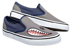 Tin Haul Mens Street Shark Bomber Gray Skateboard Canvas Slip On Shoes