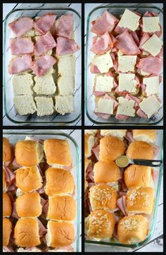 Baked Ham and Cheese Sliders Baked Ham and Cheese Sliders Prep dinner recipes Ham Cheese Sliders, Ham And Swiss Sliders, Cuban Sliders, Turkey Sliders, Slider Sandwiches, Party Sandwiches, Baby Shower Sandwiches, Tailgate Sandwiches, Funeral Sandwiches