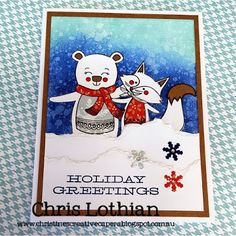 Christmas Card created by Chris Lothian - using the Miracle of Christmas and Ink Blot stamp set by Close To My Heart - purchase at www.chrislothian.ctmh.com.au
