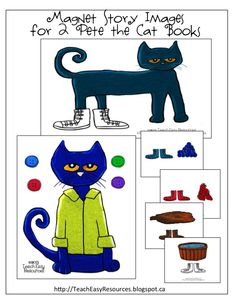 Images to retell Pete the Cat - I Love My White Shoes, and Pete the Cat and His Four Groovy Buttons