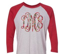 Monogrammed red and white raglan shirt  patterned monogrammed