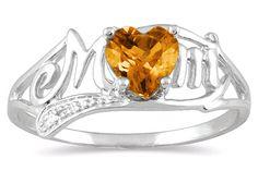 applesofgold.com - Citrine Heart Mom Ring with Diamonds in 10K White Gold