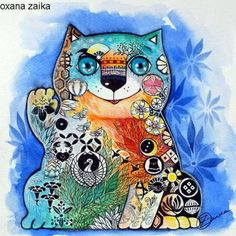 Maneki-neko-aquarelle-encre-24x24cm-original-chat-chats-cat-cats-katze-gato