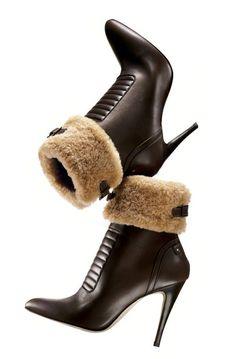 "Manolo Blahnik Dark brown bulgaro leather ""Luggina"" ankle boot with shearling trim"