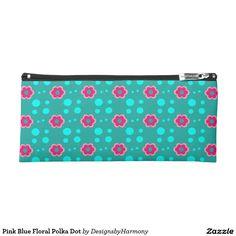 Pink Blue Floral Polka Dot Pencil Case