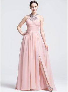 Vestidos princesa/ Formato A Decote redondo Sweep/Brush trem Vestido de festa com Pregueado Bordado lantejoulas Frente aberta