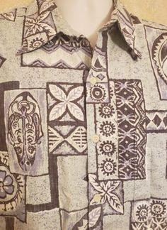 4b43f06e Reyn Spooner Phil Edwards Shirt Tribal Hawaiian Reverse-Print Tiki - Large