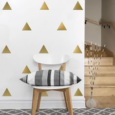 36 Gold Metallic Triangle Wall Decals by WallDressedUp on Etsy