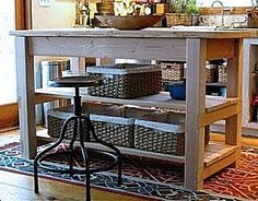 Domestic Jenny: diy kitchen island plans, instead of shelves have bars to hang pots and pans from and other things:) Diy Furniture Plans, Furniture Projects, Kids Furniture, Farmhouse Furniture, White Furniture, Easy Diy Projects, Home Projects, New Kitchen, Kitchen Decor