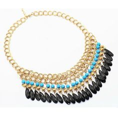 Turquoise and Black Fringe Statement Necklace