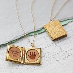 Handprint storybook locket necklace by maria allen boutique Cute Necklace, Letter Necklace, Locket Necklace, Gold Locket, Heart Locket, Stylish Jewelry, Cute Jewelry, Jewelry Accessories, Jewelry Design