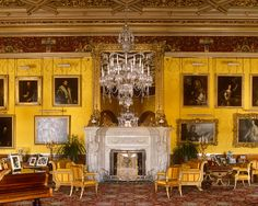 Alnwick Castle's Saloon | Damask woven in pure silk in yellow, in an early 19th Century design from the Saloon walls. @Alnwick Castle #walling #silk #damask #yellow #weaving #fabric #downtonabbey #brancastercastle www.humphriesweaving.co.uk