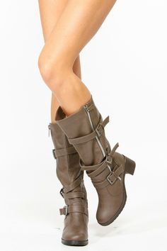 Taupe Boots with buckles and zippers