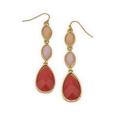 Peach, Pink and Orange Drop Fashion Earrings