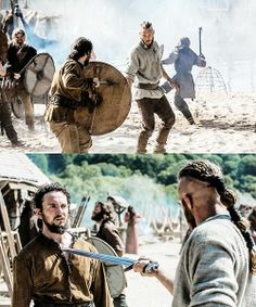 Vikings (series 2013 - ) Starring: George Blagden as Athelstan and Travis Fimmel as Ragnar Lothbrok.