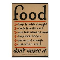 Food, Don't Waste It - Vintage War Poster Wpa Posters, Poster S, Food Posters, Water Poster, Kitchen Posters, Kitchen Prints, Kitchen Decor, Custom Posters, Vintage Posters