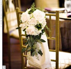 For ceremony aisle chairs?  Calla lilies & some roses?  Brighter greenery?  Good shape and size.