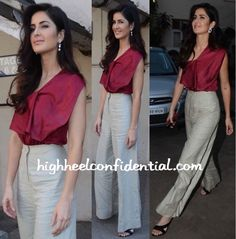 Katrina has been busy promoting her latest movie and at one such event was photographed wearing Lola by Suman B separates. With her hair styled in soft waves, the actor finished out the look with black sandals. Though the heavily creased pants were bit of a bummer, the actor looked nice. Katrina Kaif At Fitoor …