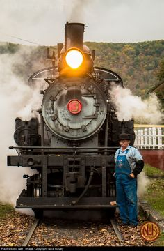 After a long day of Greenbrier Valley trains, Earl stands proudly in front of his steed at the Durbin depot.